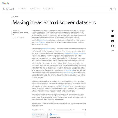 Making it easier to discover datasets