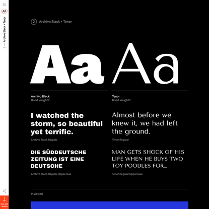 2017 Trendy Google Fonts Combinations - Archivo Black + Tenor