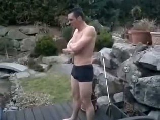 Cannonball Ice Dude - jumps into frozen pool