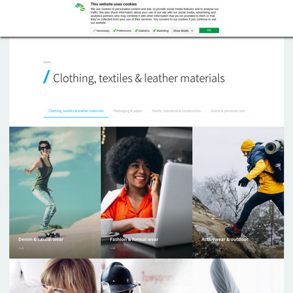 Clothing, textiles & leather materials