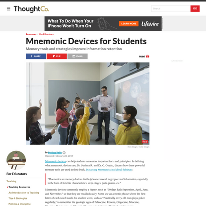 What Are Some Mnemonic Devices to Teach Students?