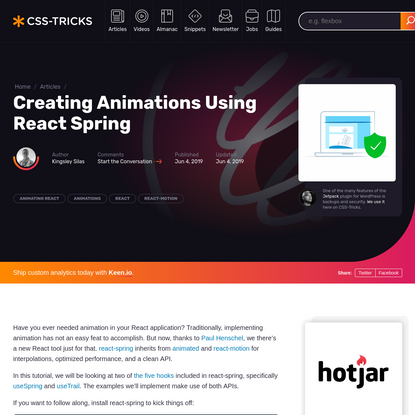 Creating Animations Using React Spring | CSS-Tricks
