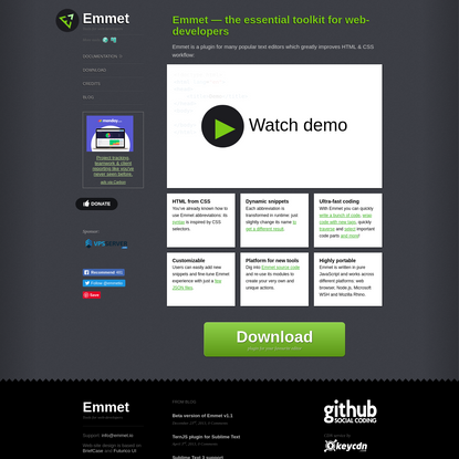 Emmet - the essential toolkit for web-developers