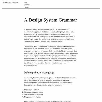 A Design System Grammar