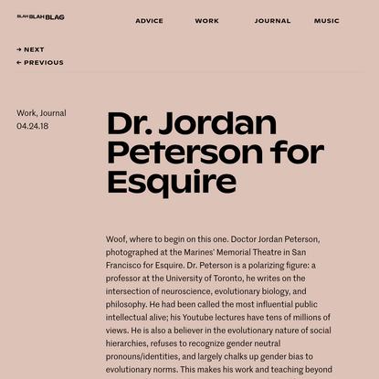 Dr. Jordan Peterson for Esquire - Blah Blah Blag