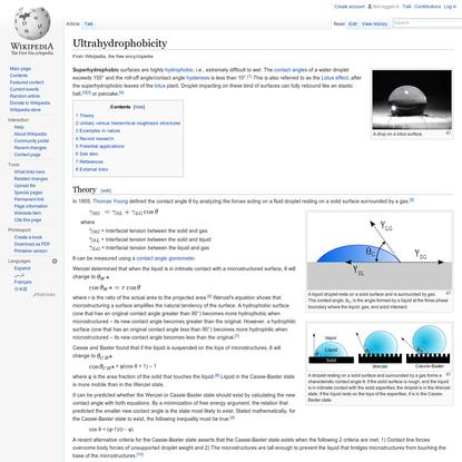 Ultrahydrophobicity