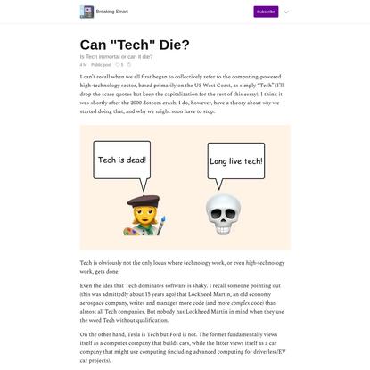 "Can ""Tech"" Die?"
