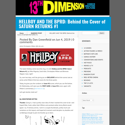 HELLBOY AND THE BPRD: Behind the Cover of SATURN RETURNS #1