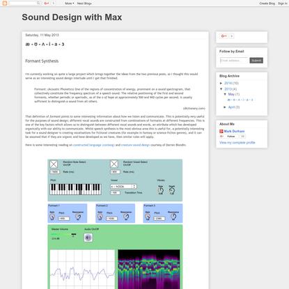 Sound Design with Max