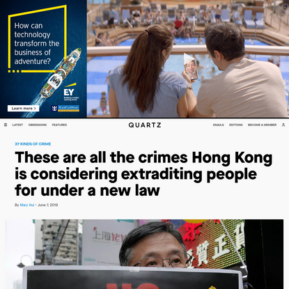 These are all the crimes Hong Kong is considering extraditing people for under a new law