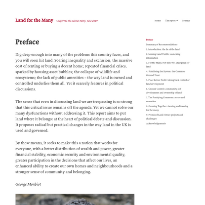 Preface - Land for the Many