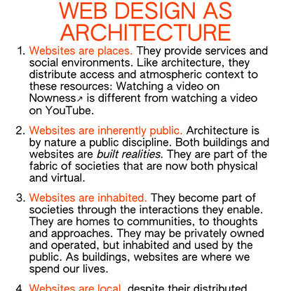 Web design as architecture
