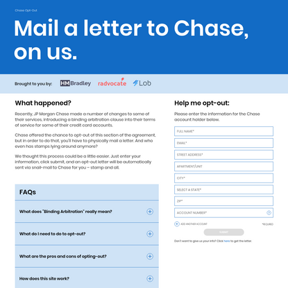 ChaseOptOut - Mail a letter to Chase, on us.