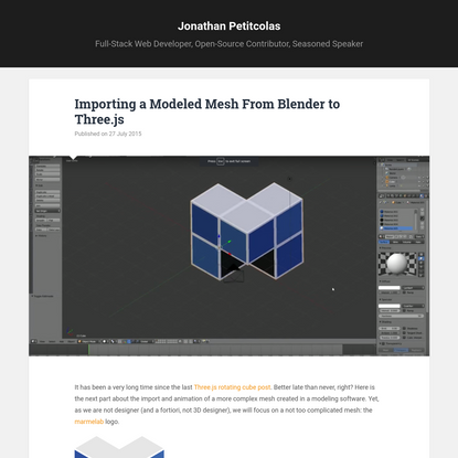 Importing a Modeled Mesh From Blender to Three.js