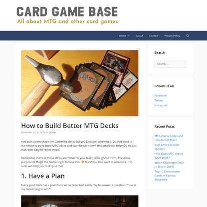 How to Build Better MTG Decks - Card Game Base
