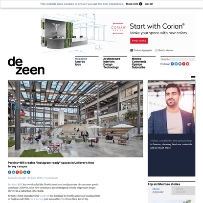 """Perkins+Will creates """"Instagram-ready"""" spaces in Unilever's New Jersey campus"""