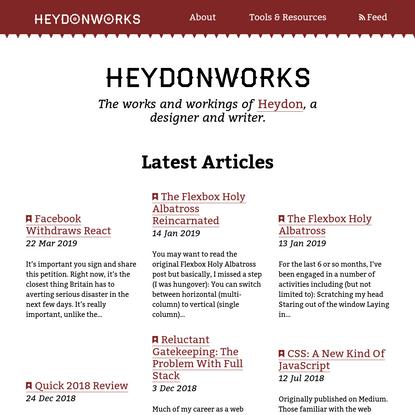 HeydonWorks   The works, workings and reckonings of Heydon