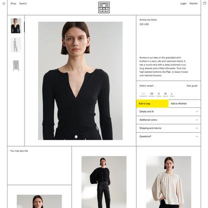 Avresa top black - Totême online store