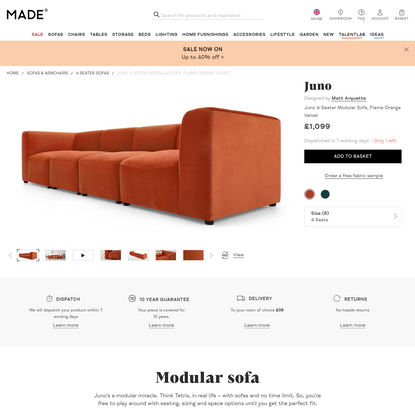 Juno 4 Seater Modular Sofa, Flame Orange Velvet | made.com