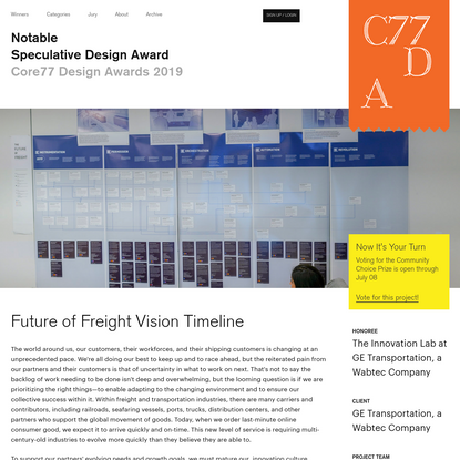 Future of Freight Vision Timeline - by The Innovation Lab at GE Transportation, a Wabtec Company / Core77 Design Awards