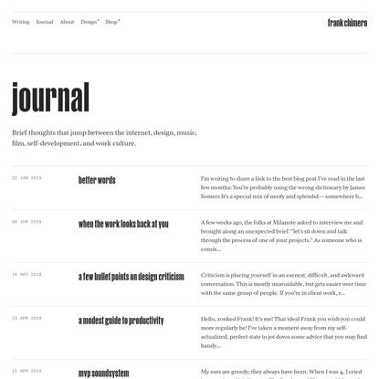 Frank Chimero · Journal