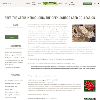 Free the Seed! Introducing the Open Source Seed Collection