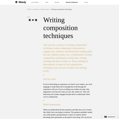 Writing composition techniques | Wordy