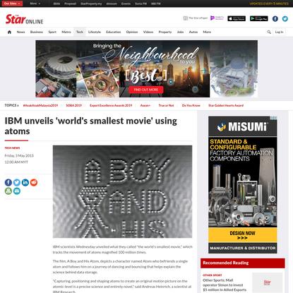 IBM unveils 'world's smallest movie' using atoms - Tech News | The Star Online