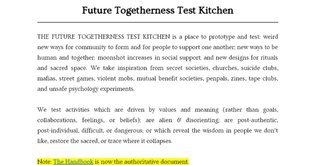 Future Togetherness Test Kitchen