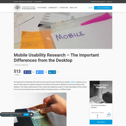 Mobile Usability Research - The Important Differences from the Desktop