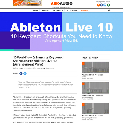 10 Essential Keyboard Shortcuts For Ableton Live 10 (Arrangement View)