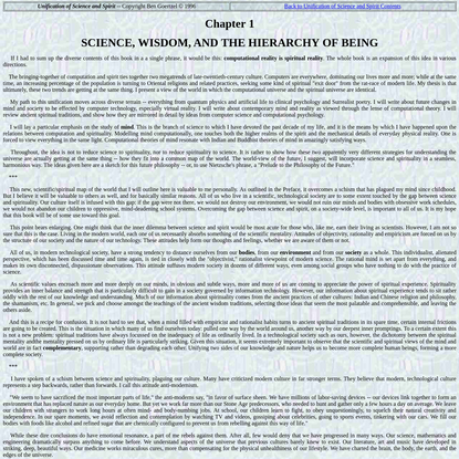 Unification of Science and Spirit: Chapter 1 - SCIENCE, WISDOM, AND THE HIERARCHY OF BEING