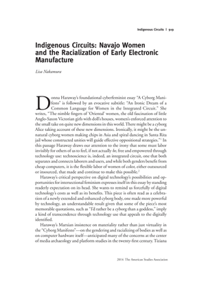 Indigenous Circuits: Navajo Women and the Racialization of Early Electronic Manufacture - Lisa Nakamura
