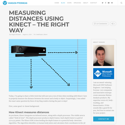Measuring Distances using Kinect - The Right Way | Vangos Pterneas