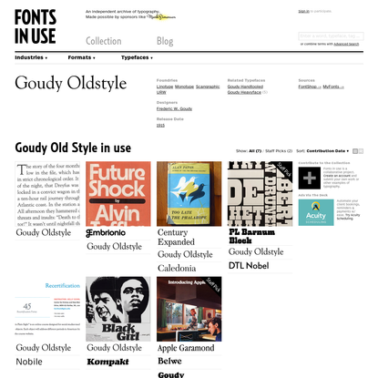 Goudy Old Style in use - Fonts In Use