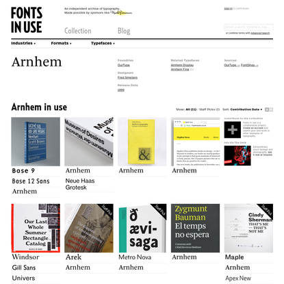 Arnhem in use - Fonts In Use