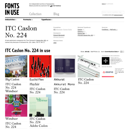 ITC Caslon No. 224 in use - Fonts In Use