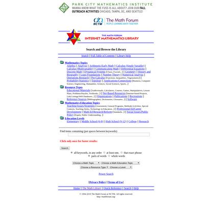 The Math Forum Internet Mathematics Library