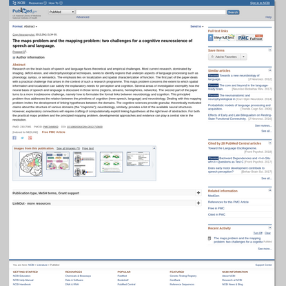 The maps problem and the mapping problem: two challenges for a cognitive neuroscience of speech and language. - PubMed - NCBI