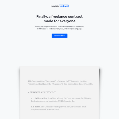 Freelance Contract Template: Download Free   The Plain Contract
