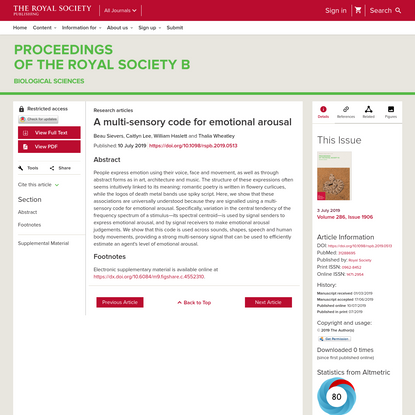 A multi-sensory code for emotional arousal | Proceedings of the Royal Society B: Biological Sciences