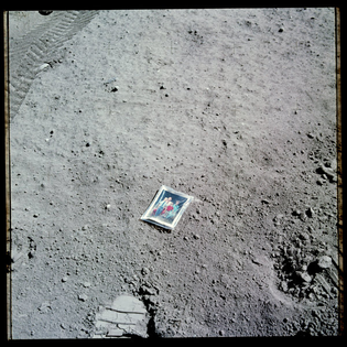 Family photograph left on moon surface by Apollo 16 astronaut, April 1972.