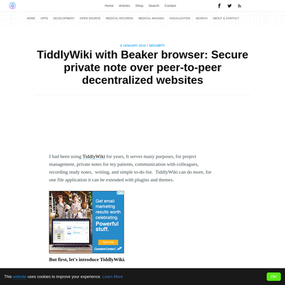 TiddlyWiki with Beaker browser: Secure private note over peer-to-peer decentralized websites