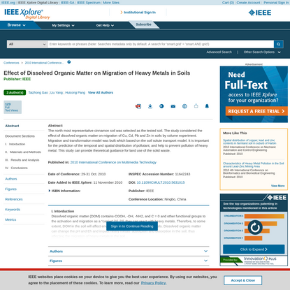 Effect of Dissolved Organic Matter on Migration of Heavy Metals in Soils - IEEE Conference Publication