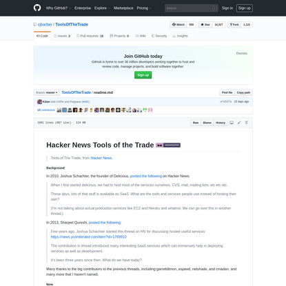 ToolsOfTheTrade/readme.md at master · cjbarber/ToolsOfTheTrade · GitHub
