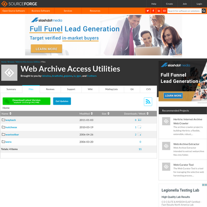 Web Archive Access Utilities - Browse Files at SourceForge.net