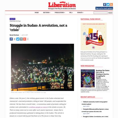 Struggle in Sudan: A revolution, not a 'crisis' | Liberation News