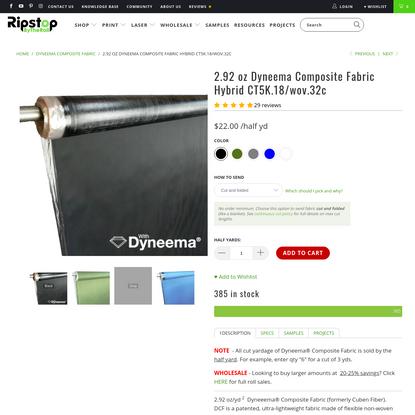 2.92 oz Dyneema Composite Fabric Hybrid CT5K.18/wov.32c