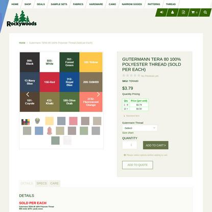 Gutermann TERA 80 100% Polyester Thread (Sold per Each)