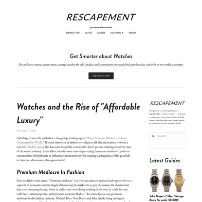 """Watches and the Rise of """"Affordable Luxury"""""""